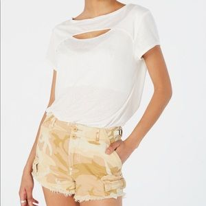Free People June Cutout T Shirt Sz Small